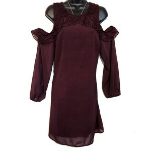Maurices Cold Shoulder Plum Lace Sheath Dress - M